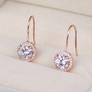 New Henri Bendel Rose Gold Crystal Pave Earrings